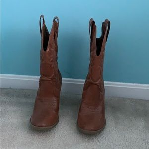 Light Brown Cowgirl boots from Target